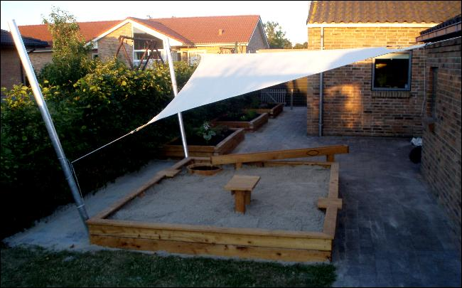 Sandkasse overdækning med solsejl
